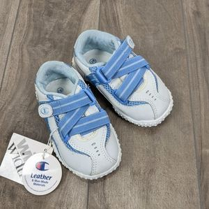 NWT Champion White Blue Sneakers size 4 Wide Baby